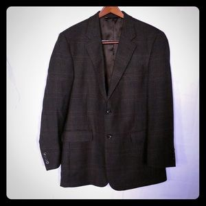 Wool jacket- windowpane Olive/Navy/Burgundy - 43L